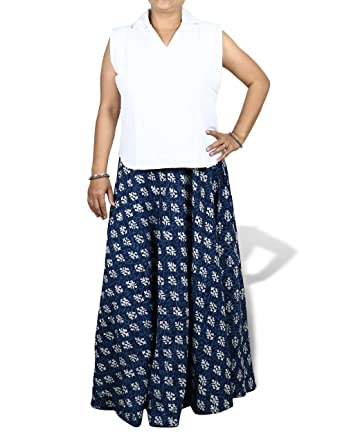 5703e483667 ShalinIndia Blue Gypsy Skirt Plus Size Ankle Length Long Block Print Cotton  Summer Dresses Size 20  Amazon.co.uk  Clothing