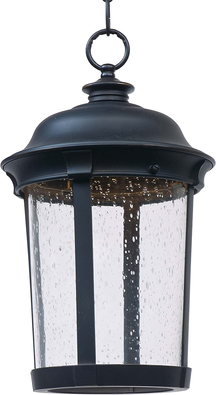 17H x 10W Maxim 55029CDBZ Dover LED Mediterranean Style Seedy Glass Outdoor LED Hanging Lantern Pendant Ceiling Light 1-Light 12 Watt Bronze