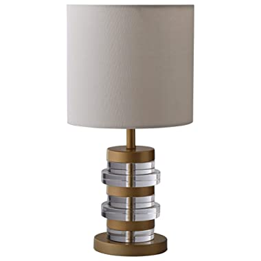 Rivet Mid-Century Modern Brass-Trimmed Table Lamp With Bulb, 16.5 H, Clear