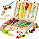 KIDWILL Tool Kit for Kids, Wooden Tool Box with Colorful Wooden Tools, Building Toy Set Creative DIY Educational Construction