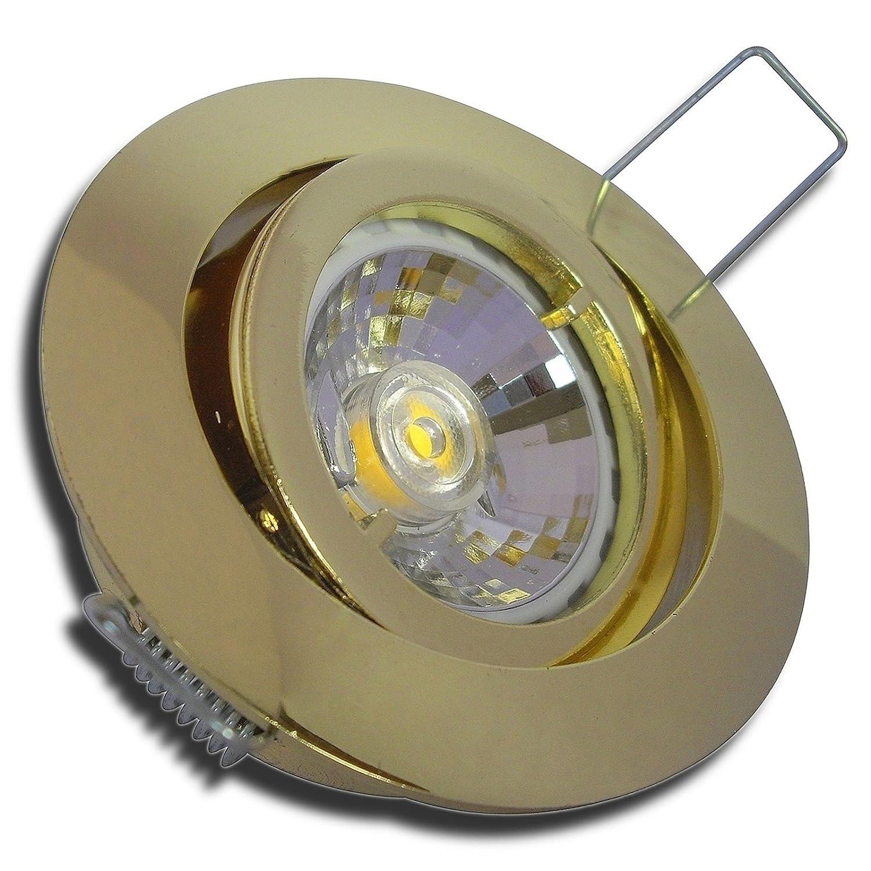 6 Stück MCOB LED Einbaustrahler Lana 12 Volt 3 Watt Schwenkbar Gold Warmweiß inkl. LED Trafo
