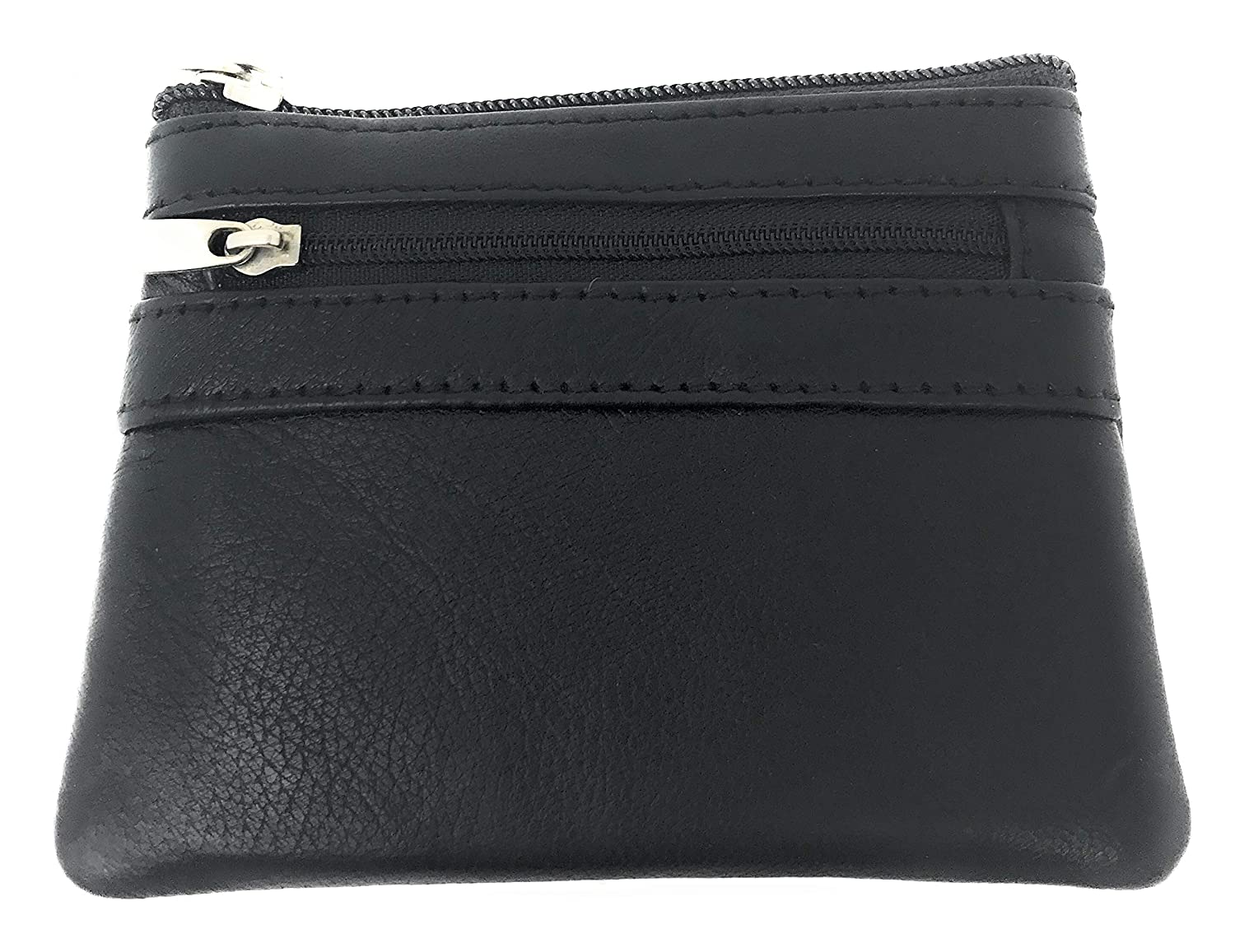 E Elton Women's Genuine Leather Coin Purse Multi Pouch Wallet with ID Holder, Key Ring Black