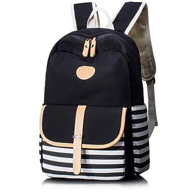 Leaper Thickened Canvas School Backpack Laptop Bag Shoulder Handbag Black1