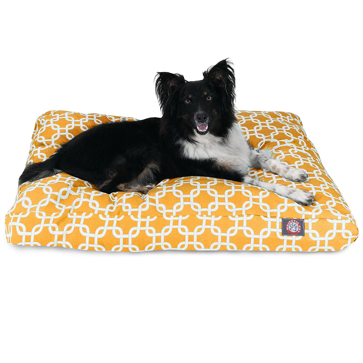 Majestic Pet Yellow Links Medium Rectangle Indoor Outdoor Pet Dog Bed With Removable Washable Cover Products