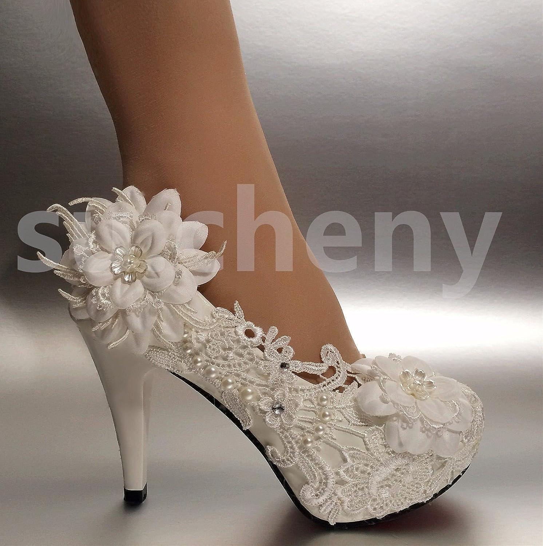 JINGXINSTORE 10 cm Sehrs Weiß Spitze Ribbon Kristall Perle Hochzeit Schuhe Braut Größe 5-12