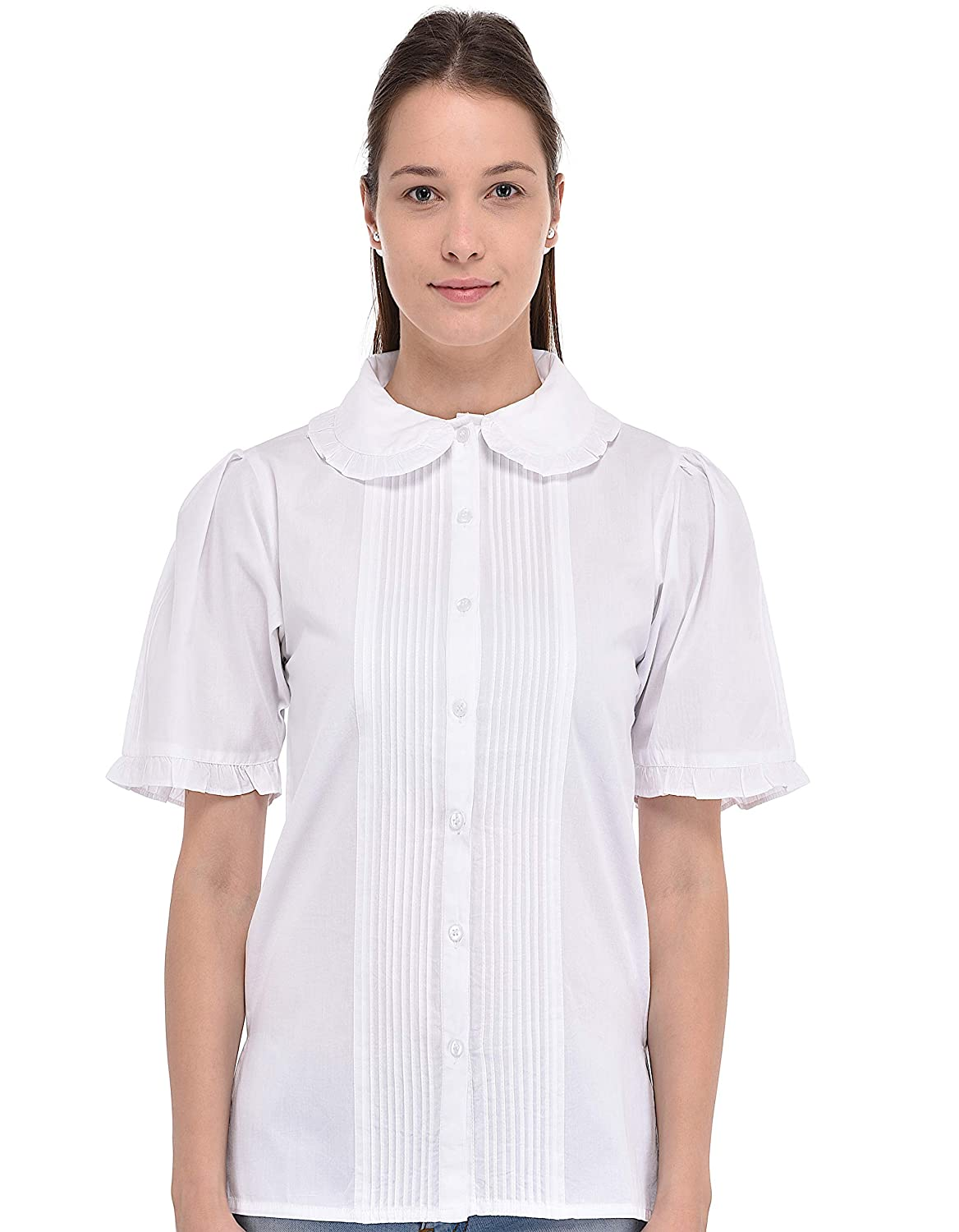 Cotton Lane White Ruffle Collar Blouse
