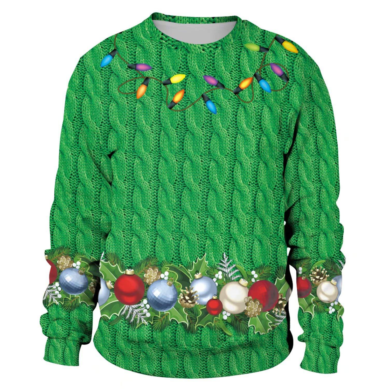Unisex Men Women Ugly Christmas Sweatshirt Xmas Santa 3D Printing Hoodie /& Crew Neck Sweatshirt