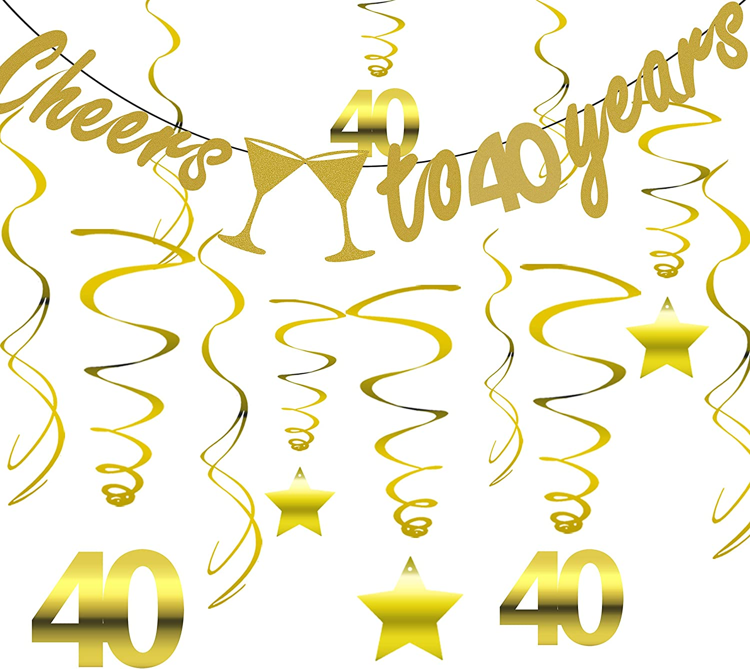 Gold 40th Birthday Party Decorations KIT - Cheers to 40 Years Banner, Sparkling Celebration 40 Hanging Swirls, Perfect 40 Years Old Party Supplies 40th Anniversary Decorations