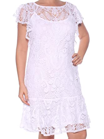 9234bd4f1b947 Ralph Lauren Womens White Lace Short Sleeve Jewel Neck Knee Length Shift Dress  Size: L: Amazon.co.uk: Clothing