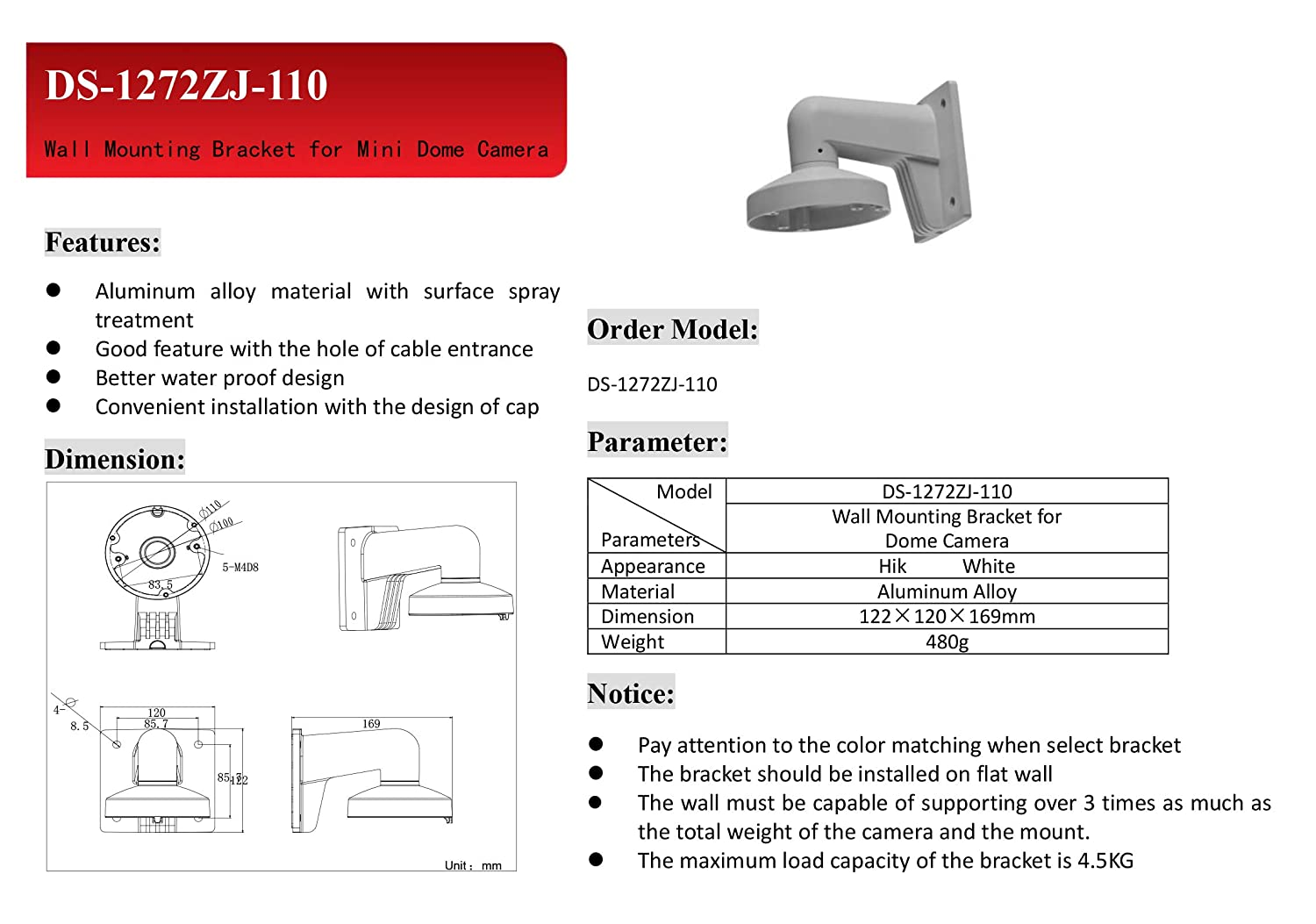 Wms Wml Pc110 Ds 1272zj 110 Wall Mount Bracket Hikvision Dome Camera Wiring Diagram 2cd2142fwd I Photo