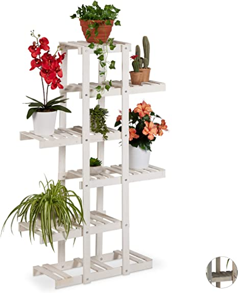 Blumenleiter Blumentreppe Pflanzentreppe Blumenregal Blumenständer Holz Weiß