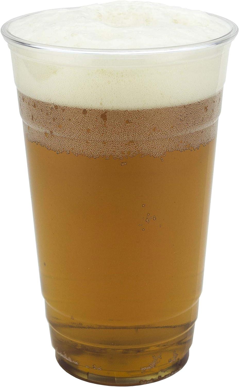 SIGNATURE PACKAGING Vasos de plástico transparentes - Vasos desechables - Jarra de cerveza para festivales, barbacoas y juegos de fútbol, Grande, 330 ml (media pinta) - 50 piezas