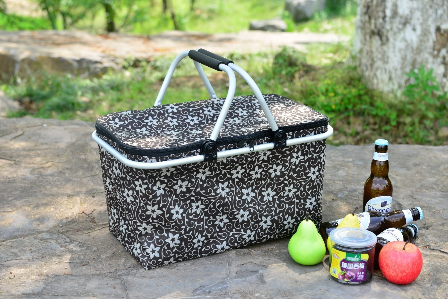 WISHPOOL Insulated Picnic Basket Collapsible Cooler Tote Box Outdoor Lunch Bag Large 18.9\