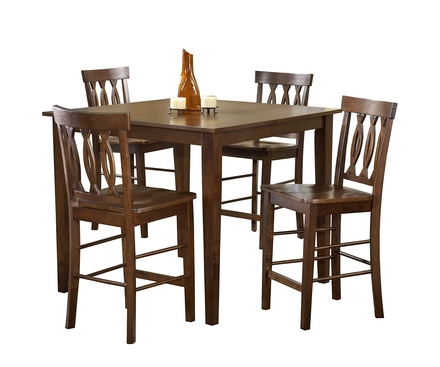 Amazon Bernards 5 Piece Fish Back Pub Set Merlot Finish Kitchen Dining
