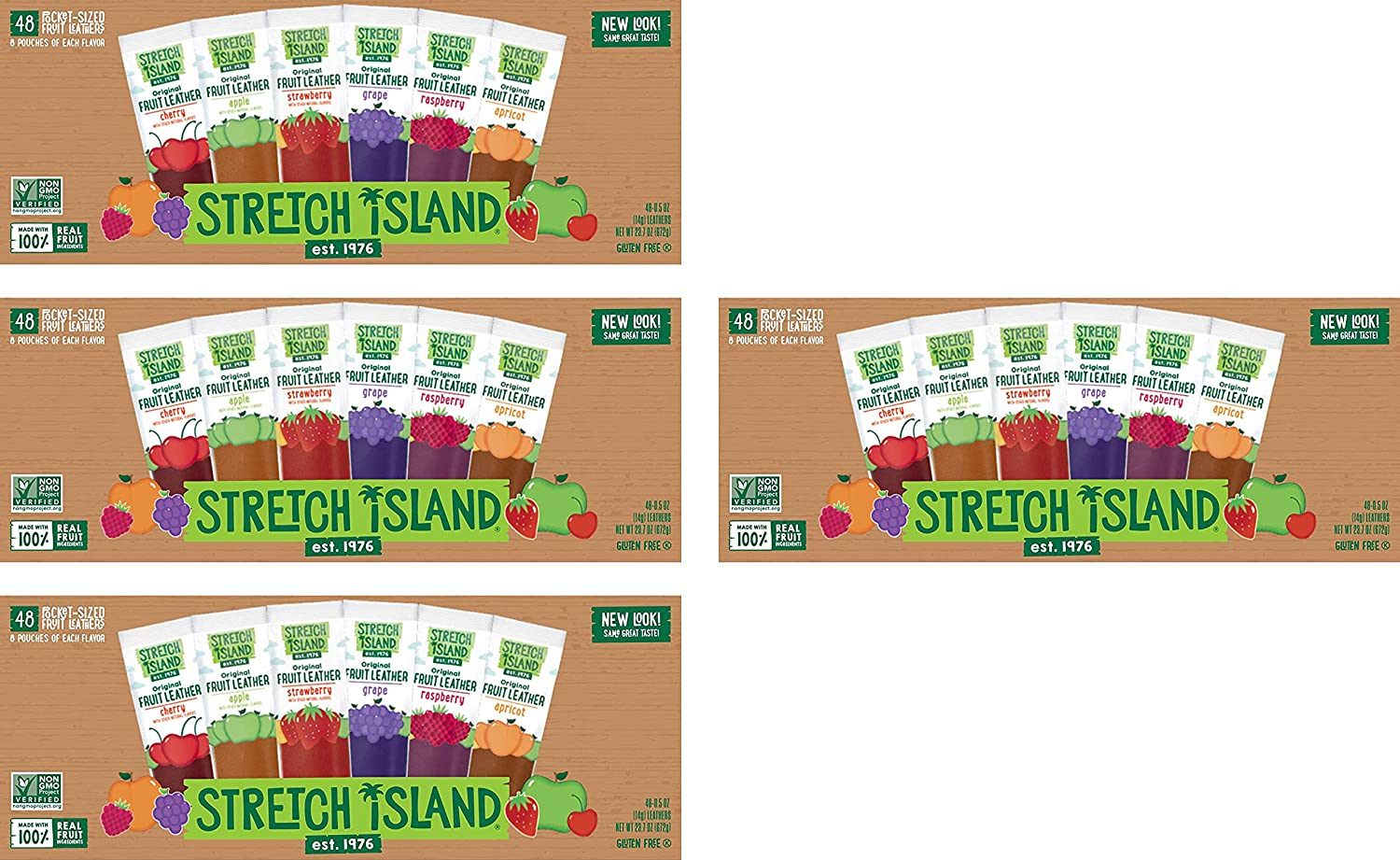 Stretch Island Fruit Leather Snacks Variety Pack, 0.5 Ounce, Pack of 48, -4 Pack