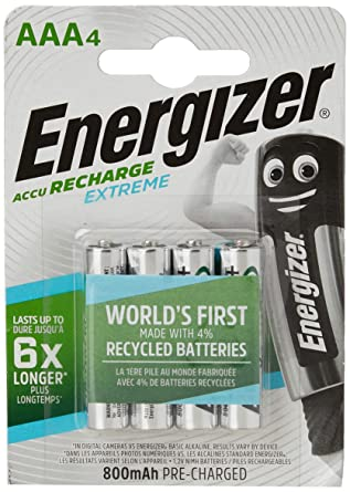 Energizer Rec HR03 AAA - Pilas Recargables (NiMh, 1.25 V, 800 mAh, 4 Unidades): Amazon.es: Electrónica
