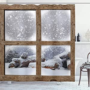 """Ambesonne Winter Shower Curtain, Rustic Snowy Woodsy Frame Window View Print Mountain House Cold Christmas Day, Cloth Fabric Bathroom Decor Set with Hooks, 70"""" Long, White and Khaki"""