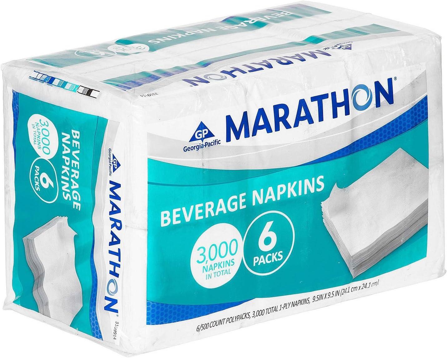Marathon - Beverage Napkin, 1/4 Fold - 3,000 Napkins