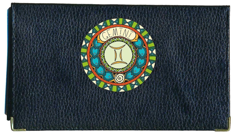 Porte ch/équier porte carte en cuir noir Signe Zodiaque Astrologique Gemeaux
