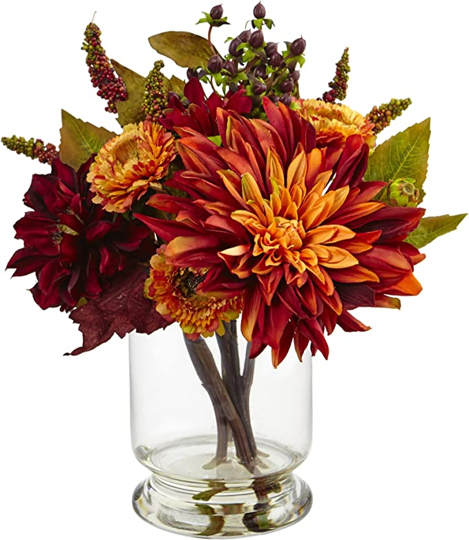 Fall Flowers in Clear Glass Vases by Nearly Natural