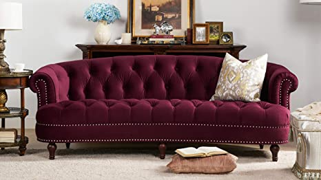 Admirable Jennifer Taylor Home La Rosa Collection Chesterfield Style Diamond Tufted Upholstered Velvet Sofa With Rolled Back Wooden Legs Burgundy Alphanode Cool Chair Designs And Ideas Alphanodeonline