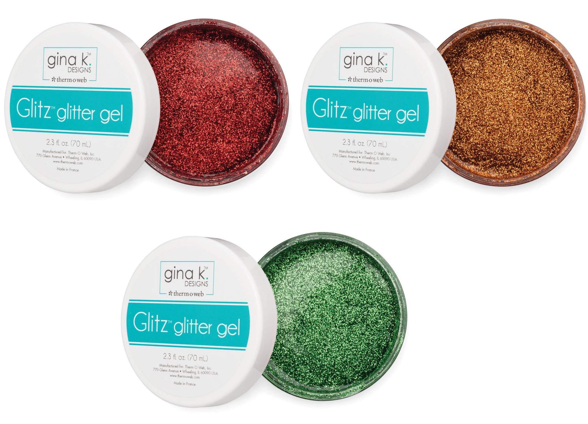 Gina K Designs Glitz Glitter Gel - Red Velvet, Sweet Mango and Grass Green - 3 Items