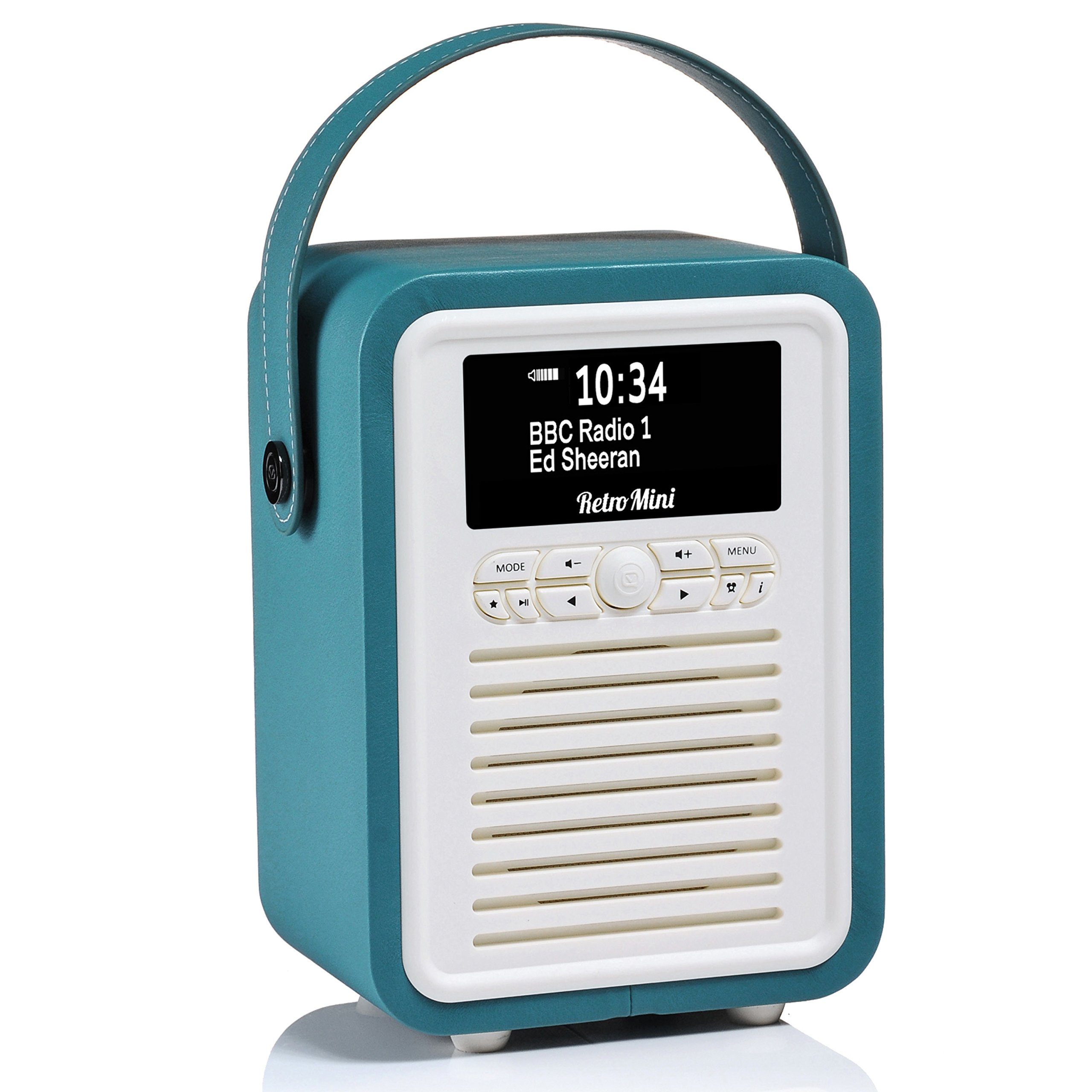 Retro Mini by VQ | Radio & Bluetooth Speaker with AM/FM & HD Radio, Dual Alarm Clock Mains or Battery – Premium PU Leather Case Teal