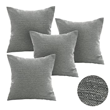 Deconovo Soft Cushion Covers For Sofa Pillow Covers Faux Linen Pillow Covers  With Invisible Zipper 18x18