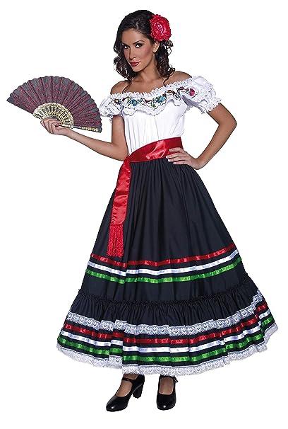 SmiffyS 34449S Disfraz De Señorita Sexy Del Oeste Auténtico Con Vestido Y Banda, Negro / Blanco, S - Eu Tamaño 36-38