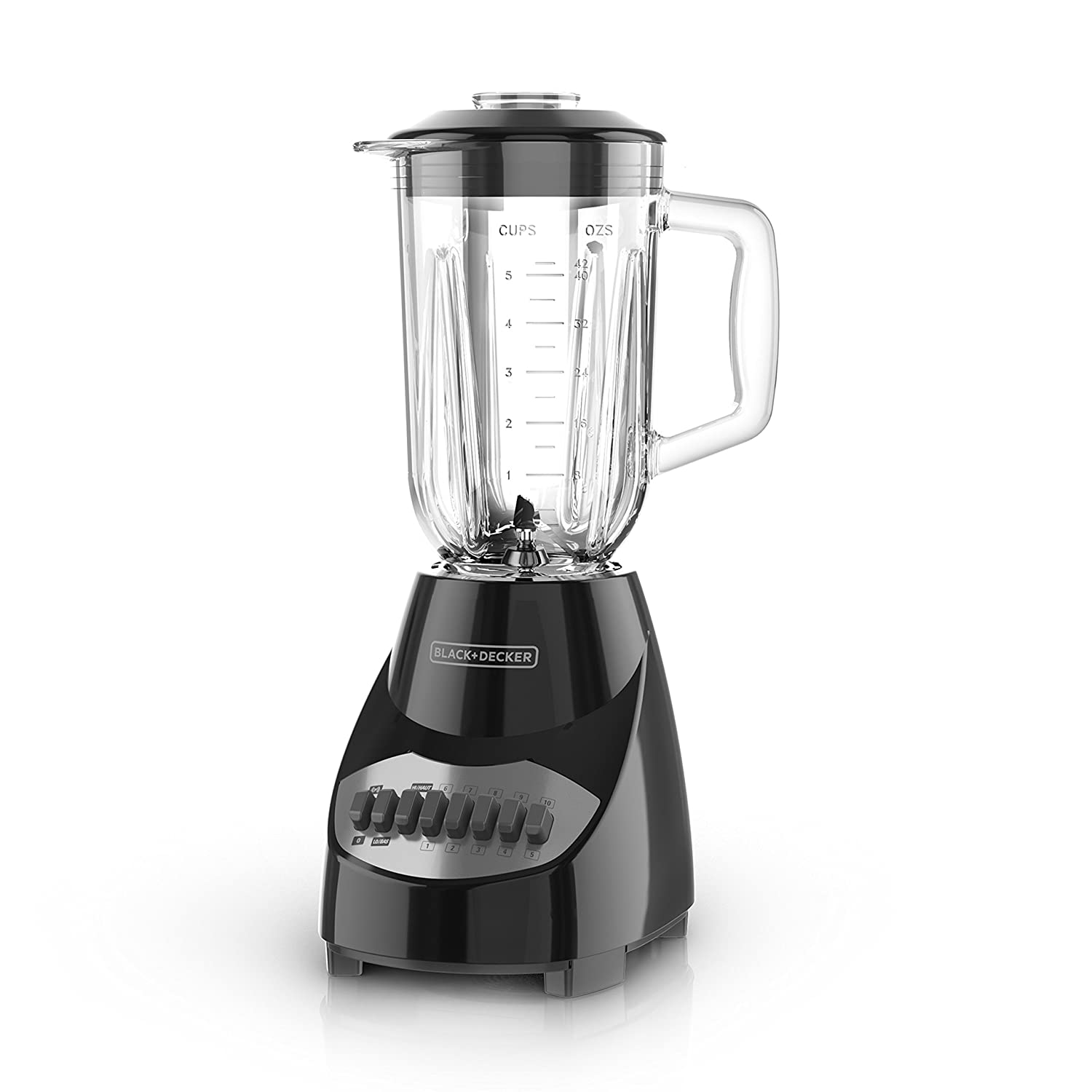 BLACK+DECKER Countertop Blender with 5-Cup Glass Jar, 10-Speed Settings, Black, BL2010BG