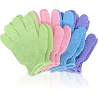 SmitCo LLC Exfoliating Gloves - 4 Pairs Full Body Scrub - Shower or Bath Spa Exfoliation Accessories For Men and Women - Scrubs Away Dead Cells For Soft Skin and Improves Blood Circulation