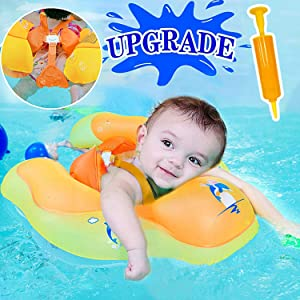 Camlinbo 【Anti-Slip Crotch Baby Swimming Float Ring - Baby Spring Floats Swim Trainer Newborn Baby Kid Toddler Summer Outdoor Beach Water Bath Toy Swimming Pool Accessories