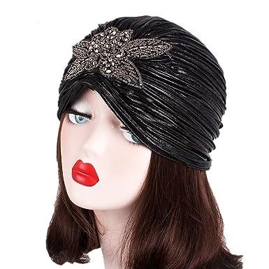 8fe4a55fee2 Hotsellhome New Women Ladies Retro Hat With Big Flowers Turban Brim Hat Cap  Pile Cap (Black)  Amazon.co.uk  Clothing