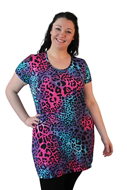 Sumpreme Fashions Camiseta - Animal Print - Manga Corta - 100 DEN - para Mujer Morado