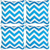 Aneco Pack of 4 Blue Waterproof Pillow Covers Outdoor Throw Pillowcases Garden Chair Cushion Case for Home, Garden…