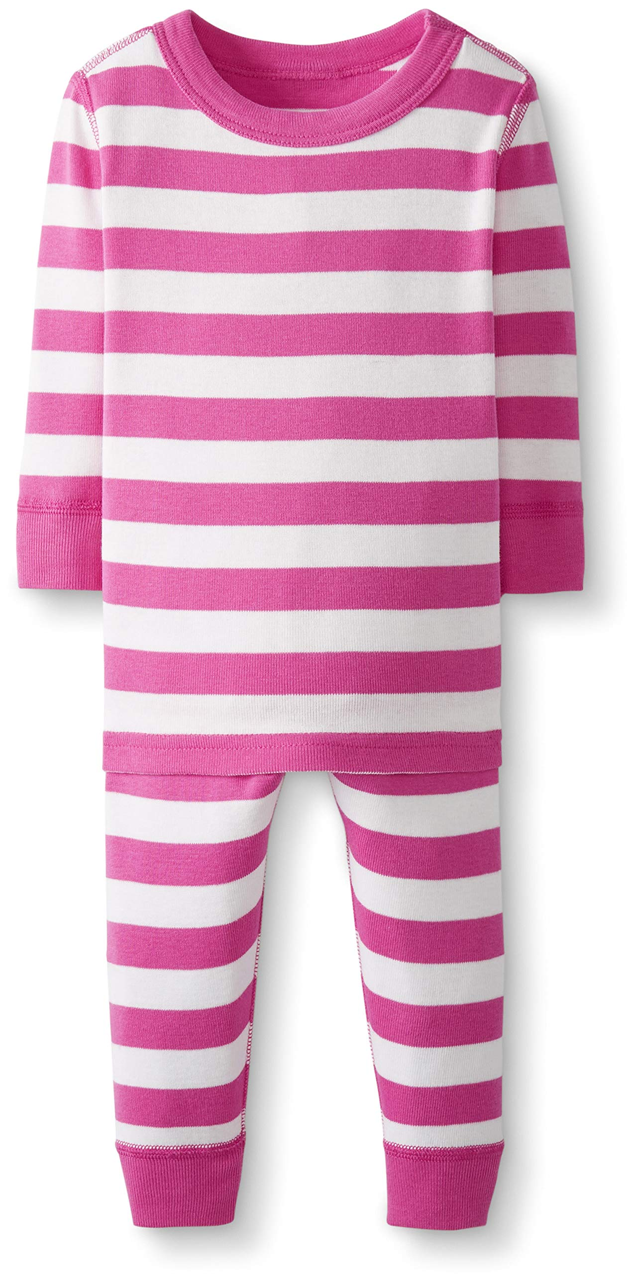 Hanna Andersson Baby/Toddler 2-Piece Organic Cotton Pajama Set Power Pink/Hanna White-50 by Hanna Andersson