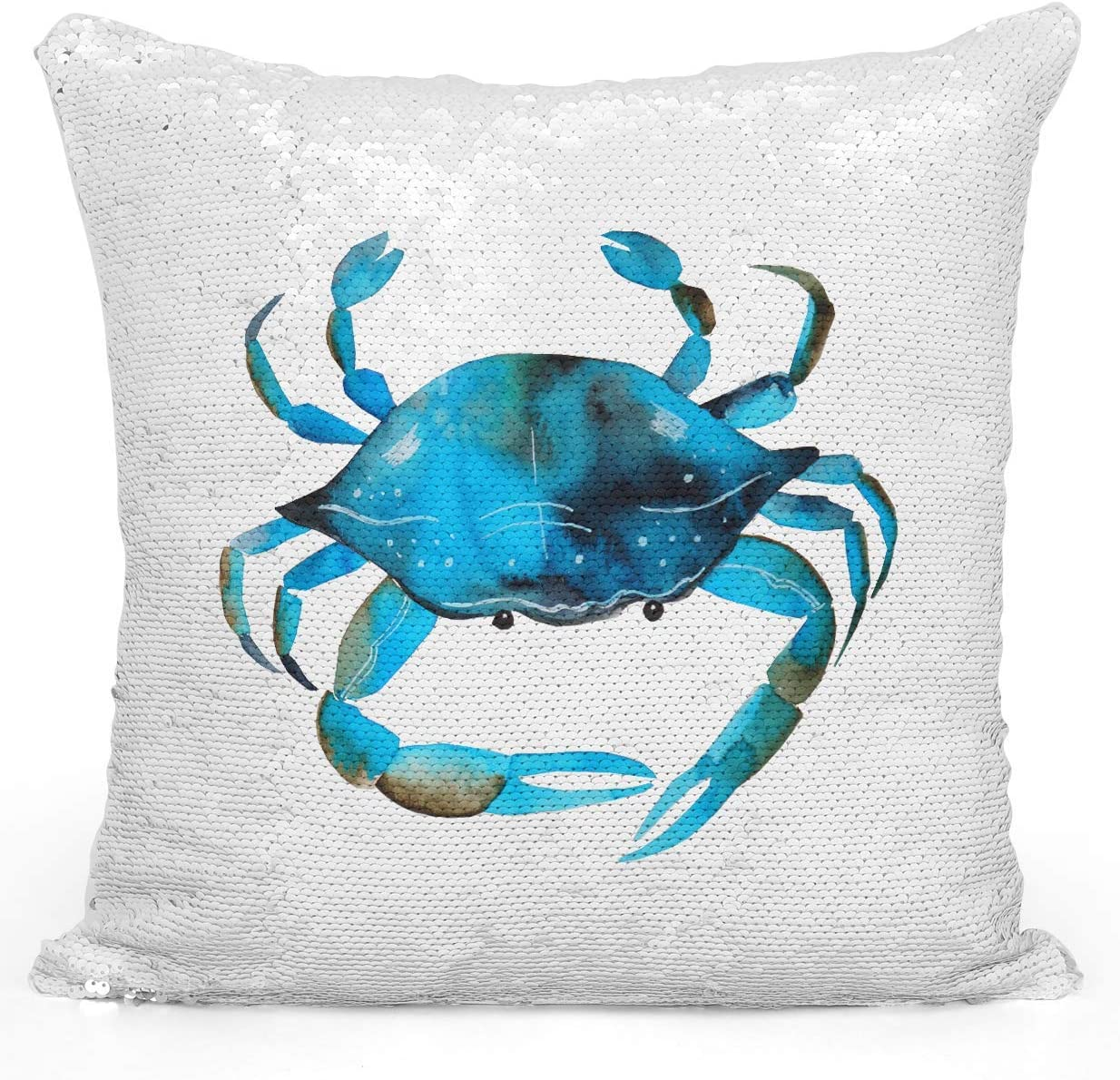 Amazon Com Looms Linens Sequin Mermaid Throw Pillow Watercolor Blue Crab Sea Marine Life Pillow 16x16 Inch Magic Flip Throw Pillow With Stuffing 1 Piece Home Kitchen