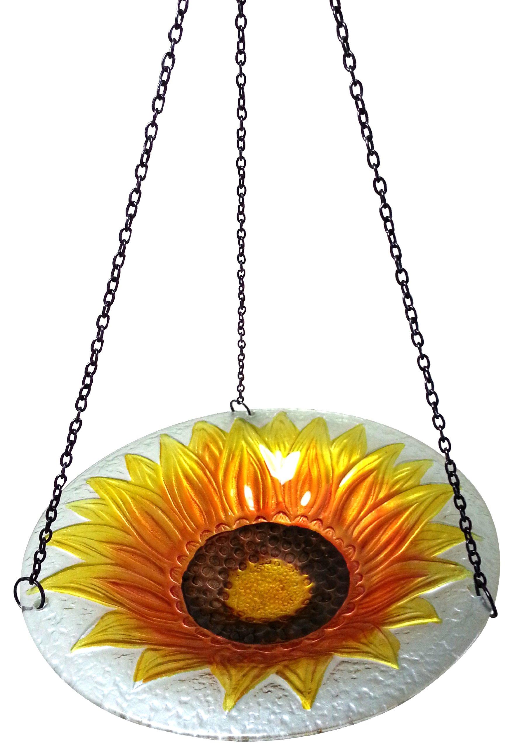 Continental Art Center CAC8ES15327 Hanging Sunflower Glass Bird Feeder with Iron Chain, 11-Inch
