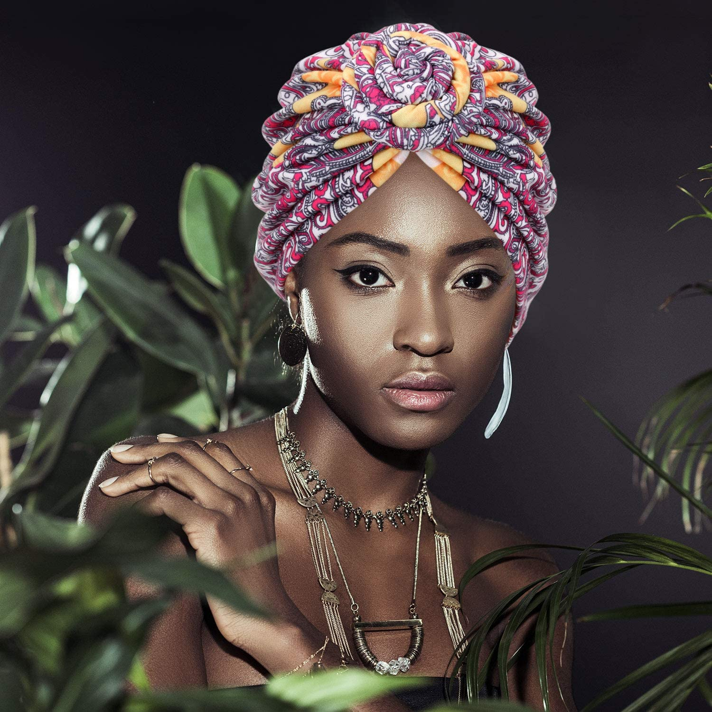 Mudder 3 Pieces African Turban for Women Pre-Tied Flower Knot Headwrap Beanie Bonnet Cap