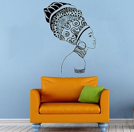 Africa African Girl Wall Stickers Vinyl Decals Home Decor Sticker Woman  Female Art Mural (7qaz