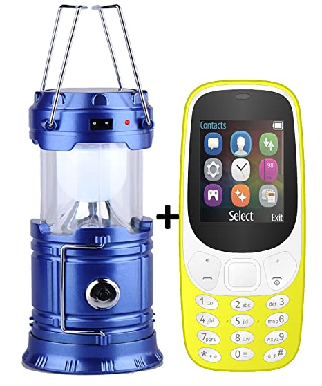 IKALL K3310 1. 8 Inch Display Mobile with Solar Powered LED Rechargeable Lantern (Dual Sim, Blue and Yellow) Basic Mobiles at amazon