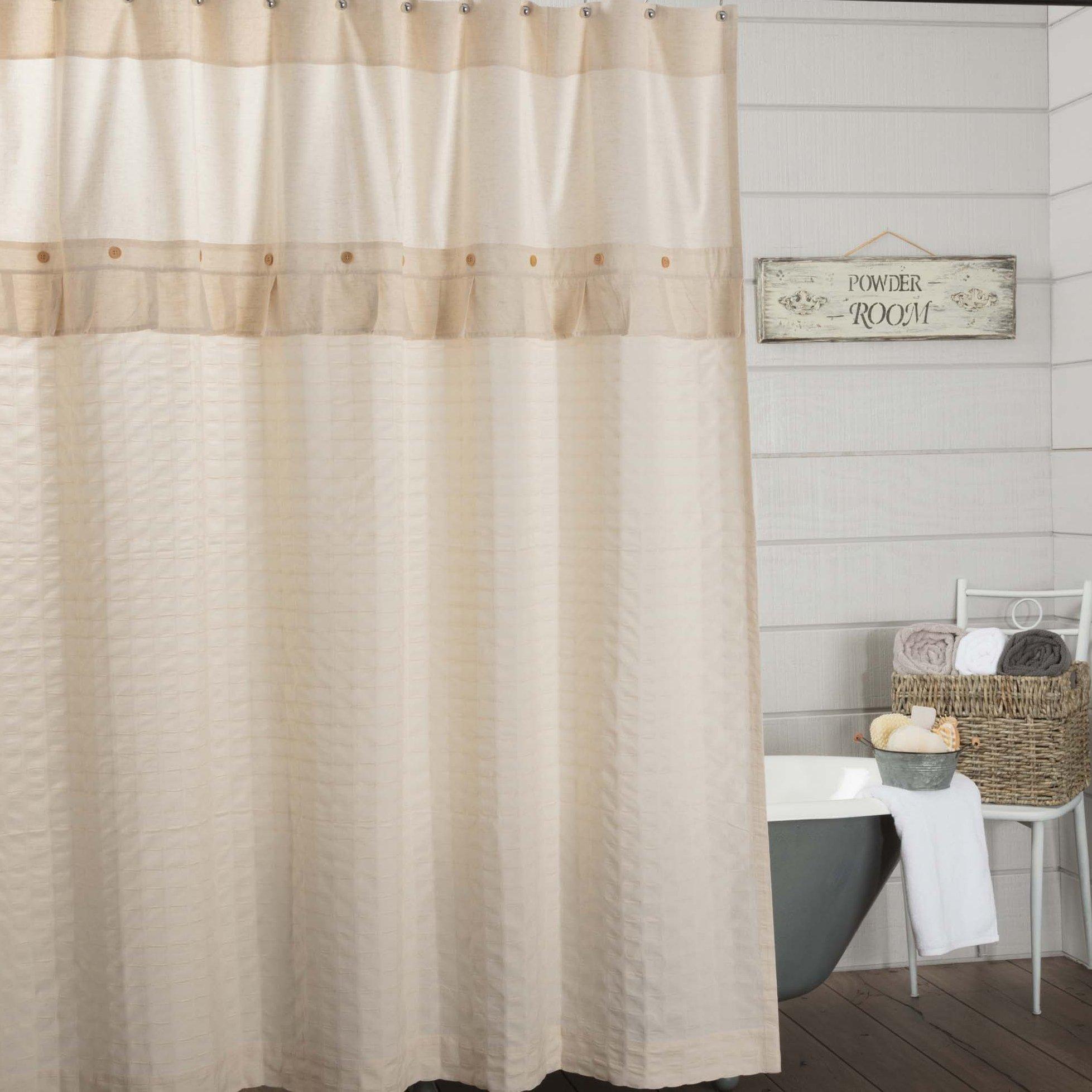 Details About Claras Cottage Natural Shower Curtain 72x72 Linen Look Cream Farmhouse