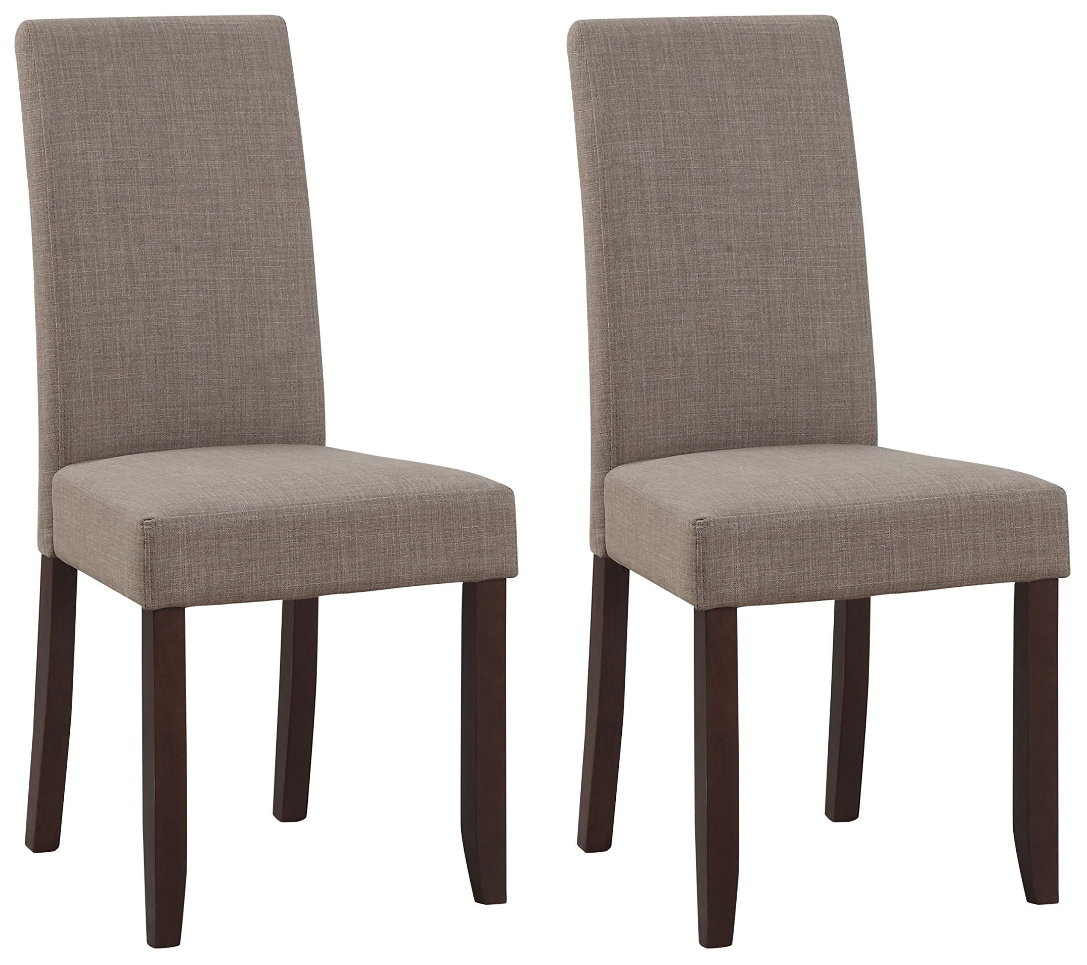 Simpli Home Acadian Parson Dining Chair, Light Mocha (Set of 2)