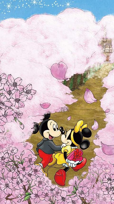 ディズニー ミッキー&ミニー 桜が咲き誇る道 XFVGA(480×854)壁紙画像