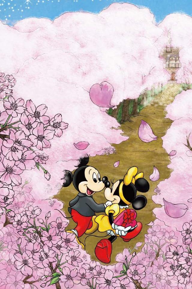 ディズニー ミッキー&ミニー 桜が咲き誇る道 iPhone(640×960)壁紙画像