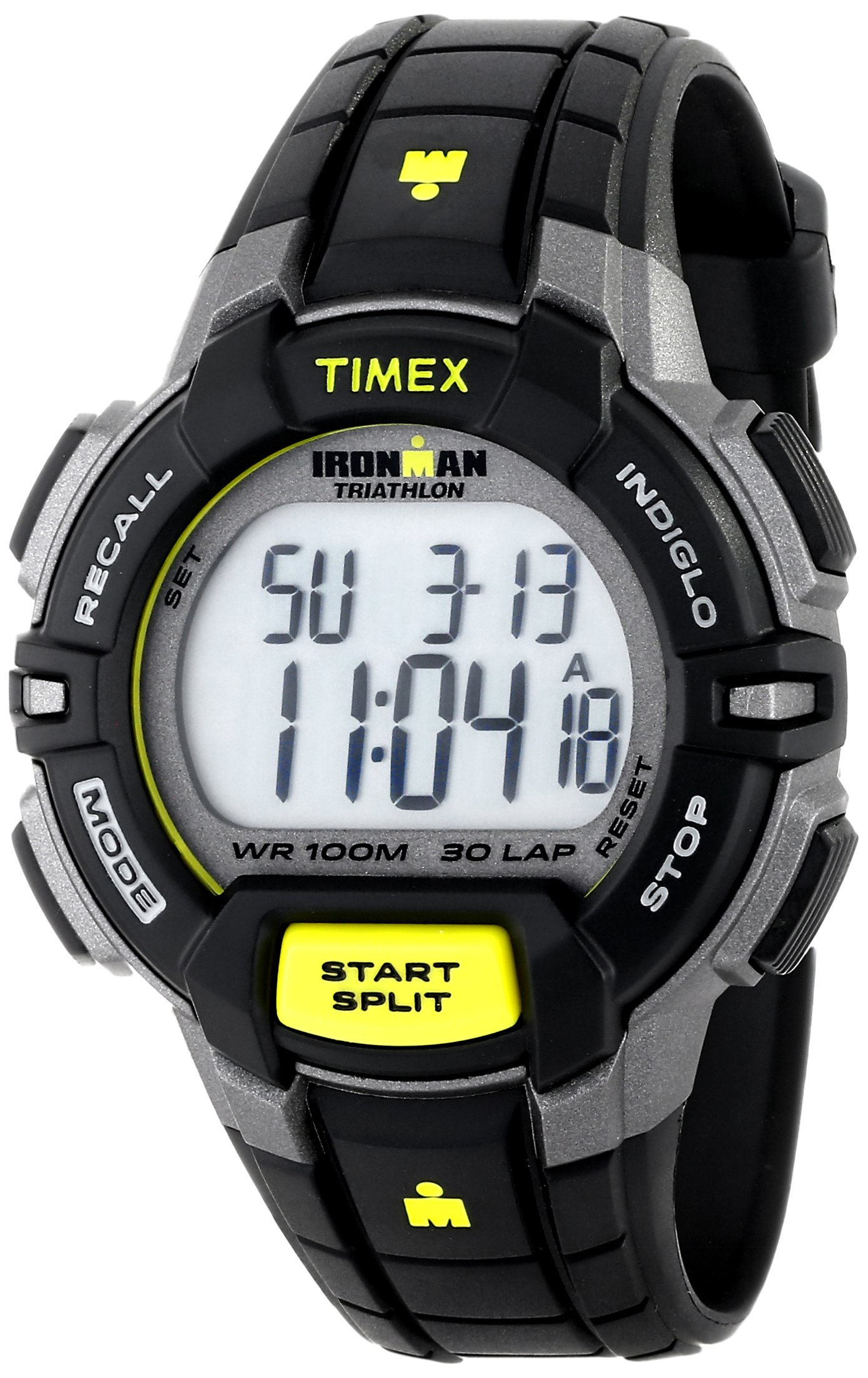 Timex Men's T5K790 Ironman Rugged 30 Full-Size Black/Lime Resin Strap Watch