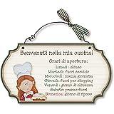 Aracne Italy targhette country in legno da appendere CUCINA ORARI