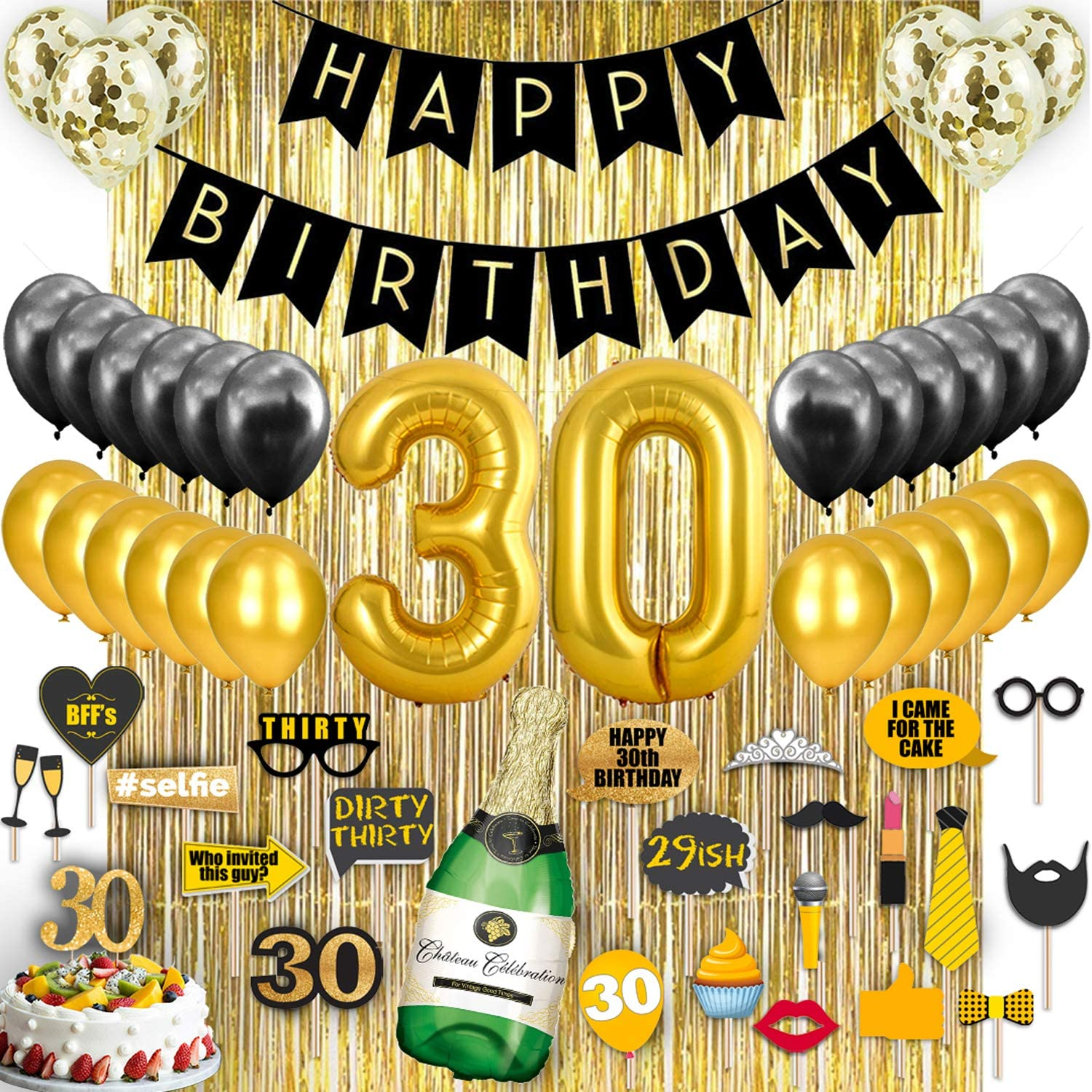 Amazon Com 30th Birthday Decorations Back Gold 30th Birthday Party Supplies Decorations Gold Foil Curtain Confetti Balloons Dirty Thirty 30th Birthday Gifts For Women And Men Photo Props Photo Booth Toys