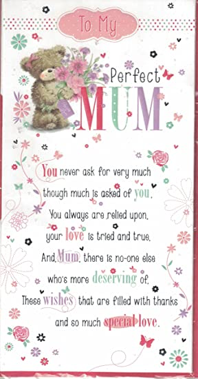 Mum Birthday Card To My Perfect Sentimental Verse Quality Slim