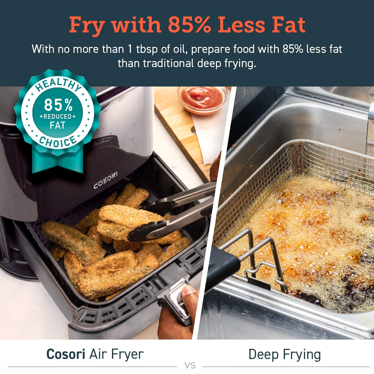 COSORI Stainless Steel Air Fryer (100 Recipes, Rack & 5 Skewers), 5.8Qt Large Air Fryers XL Oven Oilless Cooker, Preheat/Alarm Reminder, 9 Presets, Nonstick Basket, 2-Year Warranty, ETL/UL Listed by COSORI (Image #7)